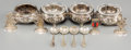 Silver Holloware, Continental:Holloware, Four Silver Salt Cellars and Spoons with Four Figural Menu Holders.Marks: (various). 1 inch high x 1-7/8 inches diameter (2... (Total:12 Items)