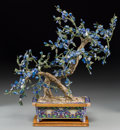 Asian:Chinese, A Chinese Cloisonne, Lapis Lazuli, and Hardstone Flowering Tree.20-3/8 h x 17-1/2 w x 11-1/2 d inches (51.8 x 44.5 x 29.2 c...