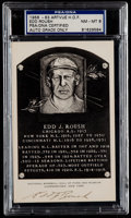 Autographs:Post Cards, 1956-63 Edd Roush Signed Artvue Hall of Fame Plaque Postcard PSA/DNA NM-MT 8....
