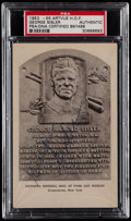 Autographs:Post Cards, 1953-55 George Sisler Signed Artvue Hall of Fame Plaque PostcardPSA/DNA Authentic....
