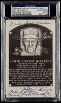 Autographs:Post Cards, 1956 Joe McCarthy Signed Artvue Hall of Fame Plaque PostcardPSA/DNA Authentic. ...