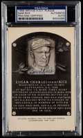 Autographs:Post Cards, 1956 Sam Rice Signed Artvue Hall of Fame Plaque Postcard PSA/DNAAuthentic....