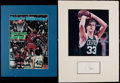 Basketball Collectibles:Others, Larry Bird and Julius Erving Signed Display Lot of 2....