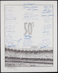 """Autographs:Photos, 1950's New York Yankees Greats Multi-Signed Oversized Print - Mantle """"2401 Games"""" Inscription. ..."""