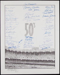 """1950's New York Yankees Greats Multi-Signed Oversized Print - Mantle """"2401 Games"""" Inscription"""