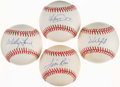 Autographs:Baseballs, Baseball Hall of Famers Single Signed Baseball Quartet (4) -Includes Ford, Rice, Schmidt & Winfield. ...