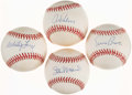 Autographs:Baseballs, Baseball Legends Single Signed Baseball Quartet (4) - Musial, Banks, Ford, & Kaline. ...