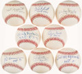 "Autographs:Baseballs, Baseball Hall of Famers Single Signed Baseballs Collection of 8 - ""HOF"" Inscriptions. ..."