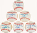 "Autographs:Baseballs, Yogi Berra Single Signed Baseballs Collection of 6 - Full NameSignature with ""NY Yankees 46-63"" Inscriptions...."