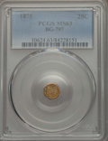 California Fractional Gold , 1875 25C Indian Octagonal 25 Cents, BG-797, Low R.4, MS63 PCGS.PCGS Population: (27/59). NGC Census: (6/5). ...