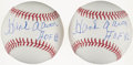 "Autographs:Baseballs, Hank Aaron Single Signed Baseball Pair (2) - With ""HOF 82""Inscriptions. ..."