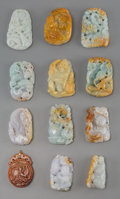 Asian:Chinese, A Group of Twelve Chinese Carved Jadeite and Russet Jade Pendants.2-1/2 inches high (6.4 cm) (largest). ... (Total: 12 Items)