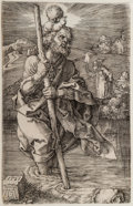 Prints & Multiples, Albrecht Dürer (German, 1471-1528). St. Christopher, facing right, 1521. Copper engraving. 4-5/8 x 2-7/8 inches (11.6 x ...