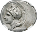 Ancients:Greek, Ancients: LUCANIA. Velia. Ca. 340-300 BC. AR didrachm or stater(24mm, 7.73 gm, 3h). NGC Choice AU 4/5 - 4/5, Fine Style....