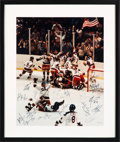 Hockey Collectibles:Others, 1980 USA Olympics Hockey Team Signed Large Photograph with Herb Brooks....