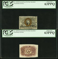 Fractional Currency:Second Issue, Fr. 1283SP 25¢ Second Issue Narrow Margin Pair PCGS Choice New 63PPQ.. ... (Total: 2 notes)