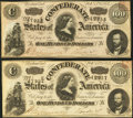 Confederate Notes:1864 Issues, T65 $100 1864. Two Examples.. ... (Total: 2 notes)