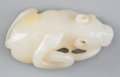 Asian:Chinese, A Chinese Carved White Jade Figural Group: Bear and Snake.1-7/8 inches long (4.8 cm). ...