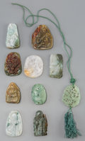 Asian:Chinese, A Group of Ten Chinese Carved Hardstone and Jade Pendants. 2-1/2inches (6.4 cm) (longest). ... (Total: 10 Items)