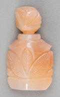 Asian:Chinese, A Small Chinese Carved Peach Agate Snuff Bottle. 1-1/2 inches high(3.8 cm). ...