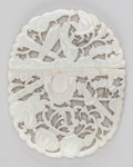Asian:Chinese, A Chinese Reticulated Carved Jade Hook Buckle. 2-1/4 inches high x2-7/8 inches wide (5.7 x 7.3 cm). ...