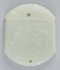 Asian:Chinese, A Chinese Carved Jade Figural Toggle Plaque. 2-1/4 inches high x1-7/8 inches wide (5.7 x 4.8 cm). ...