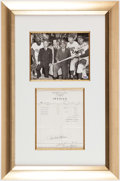 Autographs:Photos, Pee Wee Reese Signed Photograph/Invoice Display....