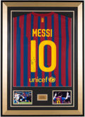 Autographs:Others, Lionel Messi Signed & Framed Jersey Display. ...