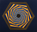 Prints & Multiples, Yaacov Agam (b. 1928). Untitled (Blue and Gold Geometric Print). Screenprint in colors. 33 x 28-3/4 inches (83.8 x 73.0 ...