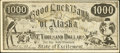 Obsoletes By State:Massachusetts, West Somerville, MA and Old Orchard, ME - Whittemore's Up-to-DateStudio Ad Note $1000 Good Luck Bank of Alaska ND (ca. 1900...