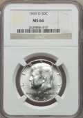 Kennedy Half Dollars, 1969-D 50C MS66 NGC. NGC Census: (178/4). PCGS Population:(270/18). Mintage 129,881,800. ...