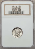 Mercury Dimes: , 1941-D 10C MS67 Full Bands NGC. NGC Census: (483/6). PCGS Population: (644/30). CDN: $130 Whsle. Bid for problem-free NGC/P...
