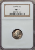 Roosevelt Dimes, 1949-S 10C MS67 NGC, and a 1950-D 10C MS67 PCGS. ... (Total: 2 coins)