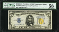 Small Size:World War II Emergency Notes, Fr. 2307* $5 1934A North Africa Silver Certificate. PMG Choice About Unc 58.. ...