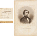Autographs:Statesmen, Confederate President and Vice President Lot: Jefferson DavisEngraved Portrait and Clipped Signature Accompanied by Alexander...(Total: 3 Items)
