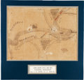 Military & Patriotic:Civil War, Fantastic Hand-Drawn Map of Vicksburg, Mississippi Drawn by J. H. Smith, Co. A, 34th Georgia Infantry, Circa 1863....