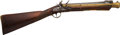 Long Guns:Muzzle loading, London Marked Brass Barrel Flintlock Blunderbuss with Folding Bayonet....