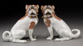 Ceramics & Porcelain, Continental:Other , A Pair of Carl Thieme Dresden Porcelain Dogs, 20th century. Marks:SP, Dresden. 7-1/8 inches high (18.1 cm). ... (Total: 2Items)