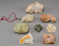 Asian:Chinese, A Group of Eight Chinese Carved Hardstone and Jade Smalls . 2-1/2inches wide (6.4 cm) (largest). ... (Total: 8 Items)