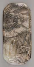 Asian:Chinese, A Chinese Mottled Grey Jade Scholar's Plaque. 3-3/8 inches high x1-1/2 inches wide (8.6 x 3.8 cm). ...