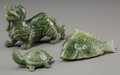 Asian:Chinese, Three Chinese Carved Spinach Jade Animal Figures: Turtle, Fish,Bixie. 2-1/4 inches high x 3-7/8 inches wide (5.7 x 9.8 cm) ...(Total: 3 Items)