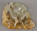 Asian:Chinese, A Chinese Reticulated Carved Jade Dragon and Phoenix Toggle. 1-3/4inches high x 1-3/8 inches wide (4.4 x 3.5 cm). ...