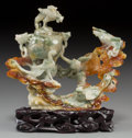 Other, A Chinese Carved Jade Figural Phoenix and Censer Group. 5 inches high x 5-1/2 inches wide (12.7 x 14.0 cm) (jade) . 6-1/8 in... (Total: 3 Items)