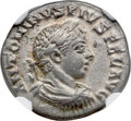 Ancients:Roman Imperial, Ancients: Elagabalus (AD 218-222). AR denarius (18mm, 2.52 gm, 6h).NGC AU 5/5 - 4/5....