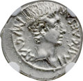 Ancients:Roman Imperial, Ancients: Augustus (27 BC-AD 14). AR denarius (19mm, 3.88 gm, 11h).NGC MS 4/5 - 3/5....