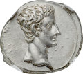 Ancients:Roman Imperial, Ancients: Augustus (27 BC-AD 14). AR denarius (18mm, 3.86 gm, 6h).NGC MS 5/5 - 4/5....