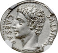 Ancients:Roman Imperial, Ancients: Augustus (27 BC-AD 14). AR denarius (18mm, 3.89 gm, 6h). NGC AU 5/5 - 4/5....