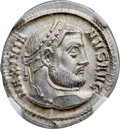 Ancients:Roman Imperial, Ancients: Galerius (AD 305-311). AR argenteus (19mm, 3.29 gm, 12h).NGC Choice MS 5/5 - 5/5....