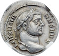 Ancients:Roman Imperial, Ancients: Maximian, first reign (AD 286-305). AR argenteus (19mm,2.75 gm, 12h). NGC MS ★ 5/5 - 5/5....