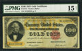 Large Size:Gold Certificates, Fr. 1214 $100 1882 Gold Certificate PMG Choice Fine 15 Net.. ...